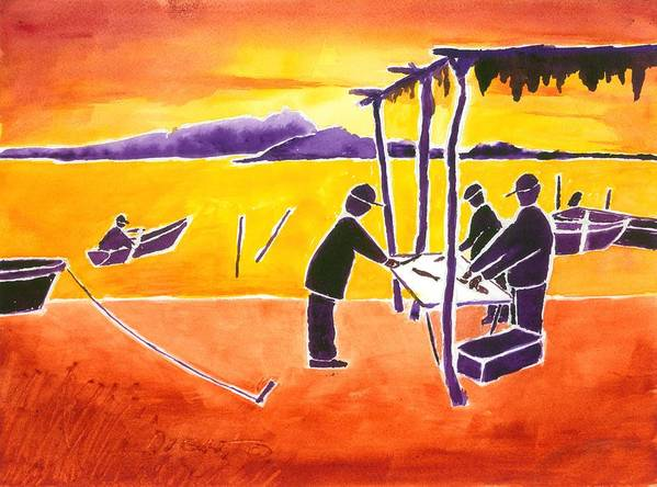 Sun Rise Poster featuring the painting La Brecha Pescadors by Buster Dight