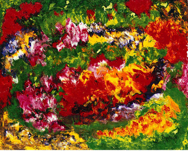 Abstract Poster featuring the painting La Fete Au Jardin by Dominique Boutaud