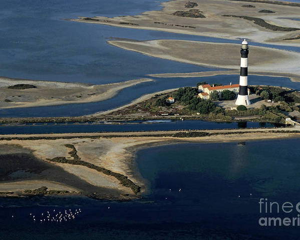 Assistance Poster featuring the photograph La Gacholle Lighthouse Surrounded With Blue Sea In Camargue by Sami Sarkis