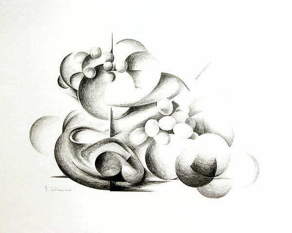 Abstract Poster featuring the drawing La Guerre Des Bulles by Muriel Dolemieux