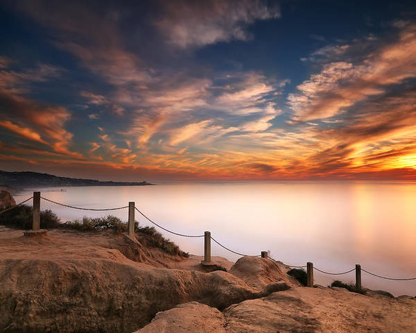 Sun Poster featuring the photograph La Jolla Sunset by Larry Marshall