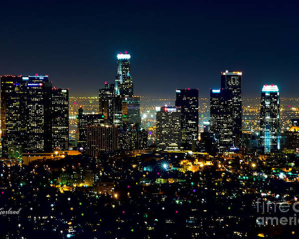 L.a. City Poster featuring the mixed media L.a. Night View by Garland Johnson