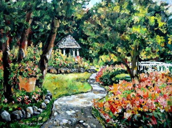 Landscape Poster featuring the painting La Paloma Gardens by Ingrid Dohm
