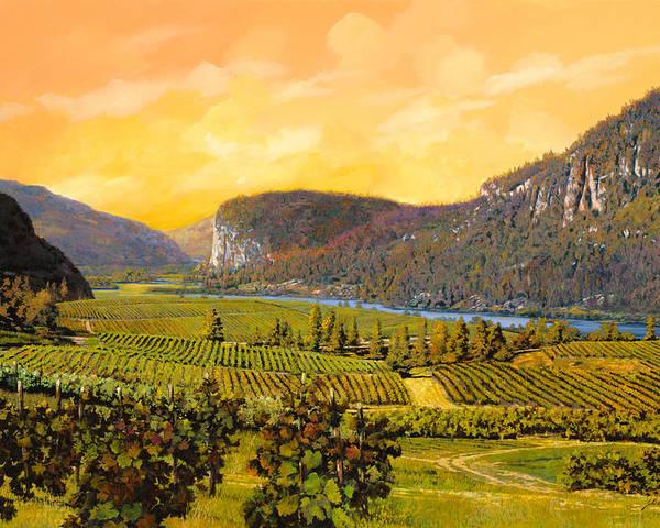 Wine Poster featuring the painting La Vigna Sul Fiume by Guido Borelli