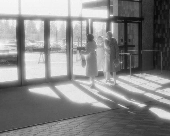 Urban Poster featuring the photograph Ladies Leaving The Mall by Lyle Crump