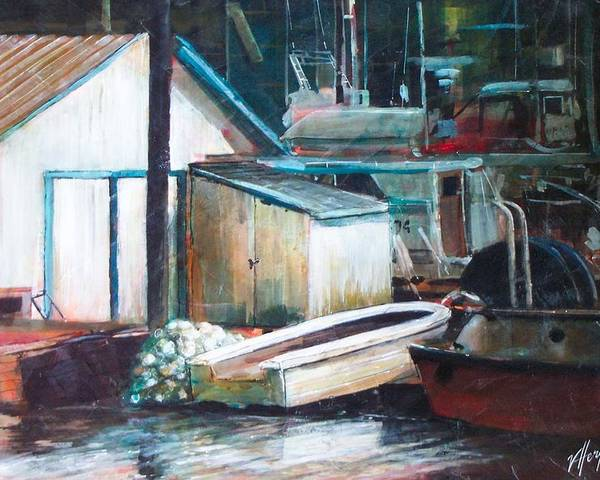 Harbour Poster featuring the painting Ladner Harbour by Victoria Heryet