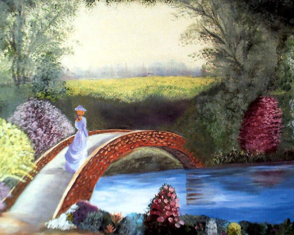 Landscape Poster featuring the painting Lady on the Bridge by Julie Lamons