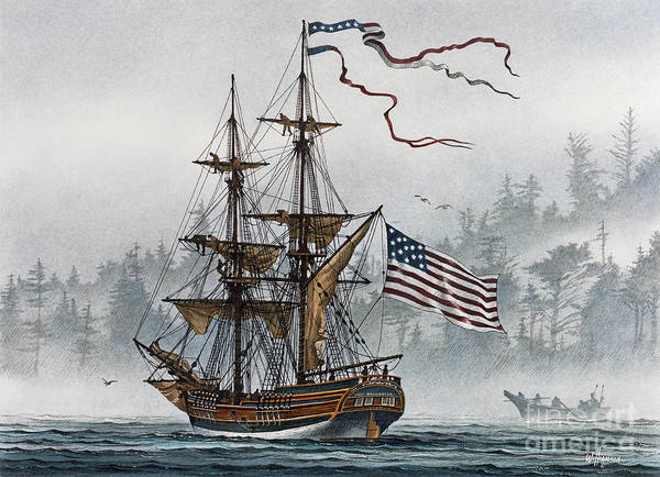 Tall Ship Print Poster featuring the painting Lady Washington by James Williamson