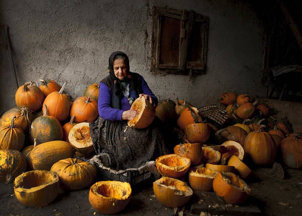 Fruit Poster featuring the photograph Lady With Pumpkins by Mihnea Turcu