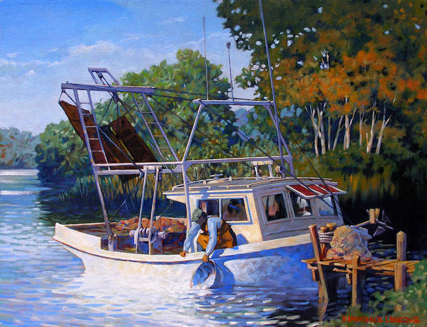 River Poster featuring the painting Lafitte Skiff by Kevin Lawrence Leveque