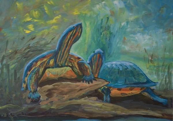 Turtles Poster featuring the painting Lagoon Turtles by Anita Wann
