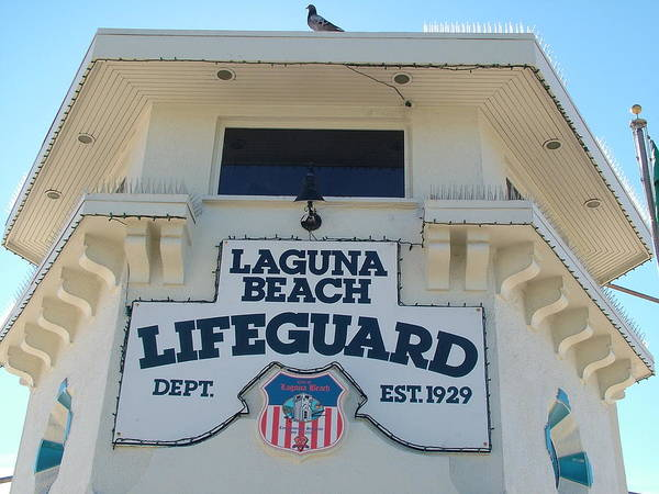 Laguna Beach Poster featuring the photograph Laguna Beach Lifeguard Tower by John Loyd Rushing