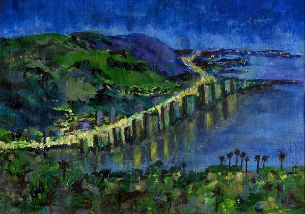 Laguna Poster featuring the painting Laguna Shores At Night by Randy Sprout