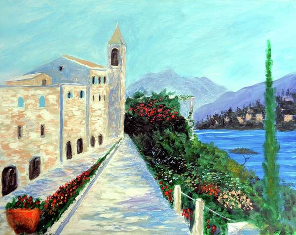 Lake Como Colors Poster featuring the painting Lake Como Colors by Larry Cirigliano