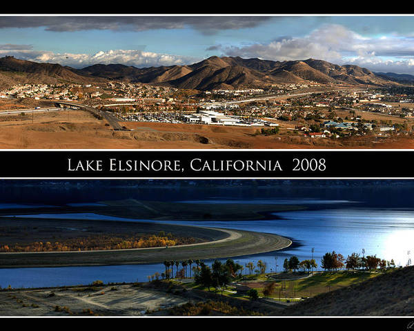 Landscape Poster featuring the photograph Lake Elsinore 180 Degrees by Richard Gordon