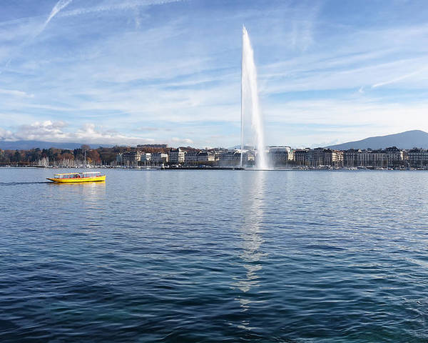 Geneva Poster featuring the photograph Lake Geneva Switzerland With Water Fountain And Water Taxi On A by Thomas Baker