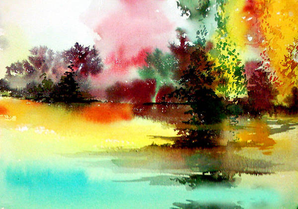 Nature Poster featuring the painting Lake In Colours by Anil Nene