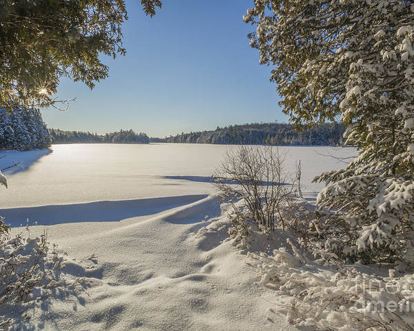 Snow Poster featuring the photograph Lake In Winter by Julie DeRoche