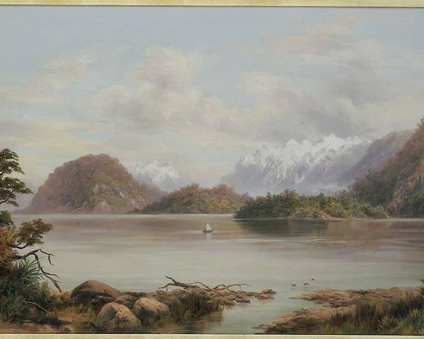 Lake Manapouri Poster featuring the painting Lake Manapouri by William Baker