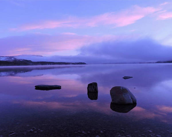 Mountains Poster featuring the photograph Lake Mcdonald Sunrise by Eric Fellegy