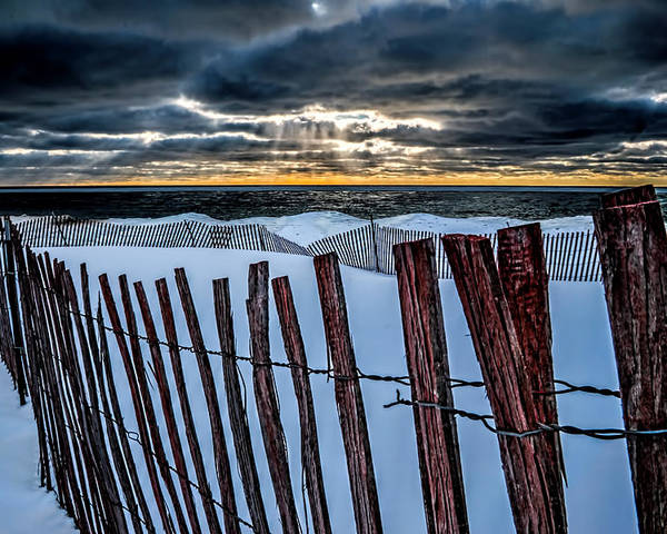 Snow Poster featuring the photograph Lake Mi Sunset 15 by Tim Bonnette