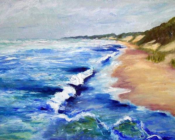 Whitecaps Poster featuring the painting Lake Michigan Beach With Whitecaps by Michelle Calkins