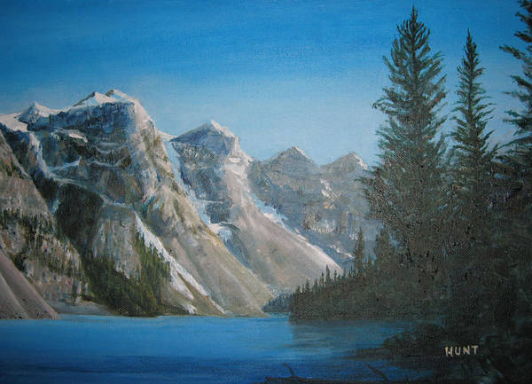 Landscape Poster featuring the painting Lake Moraine by Shirley Braithwaite Hunt