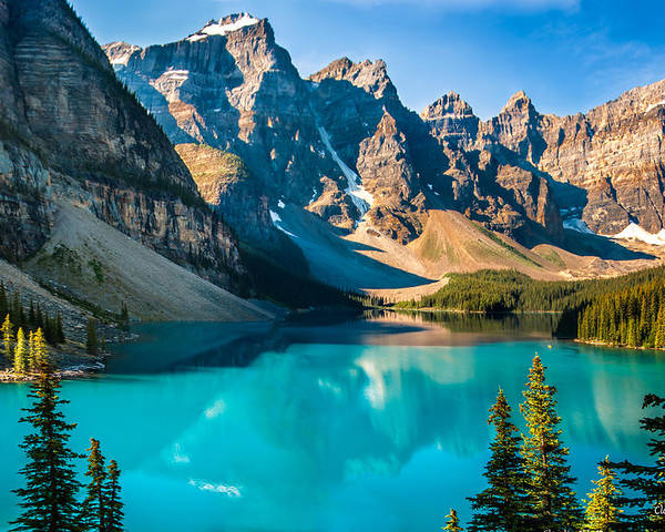 Canada Poster featuring the photograph Lake Moraine Valley Of Ten Peaks by Claudia Abbott