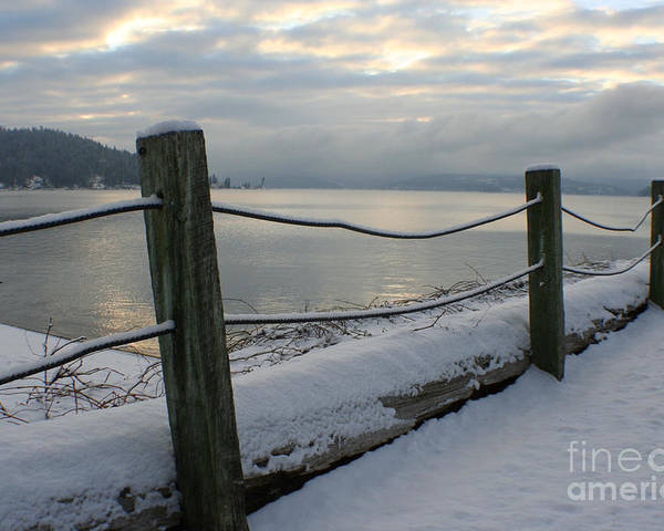 Fence Poster featuring the photograph Lake Snow by Idaho Scenic Images Linda Lantzy