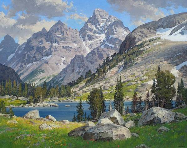 Landscape Poster featuring the painting Lake Solitude by Lanny Grant