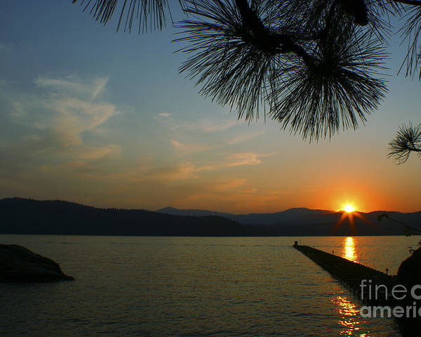 Sunset Poster featuring the photograph Lake Sunset by Idaho Scenic Images Linda Lantzy