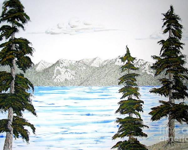 Lake Tahoe Poster featuring the mixed media Lake Tahoe In Summer by Ed Moore