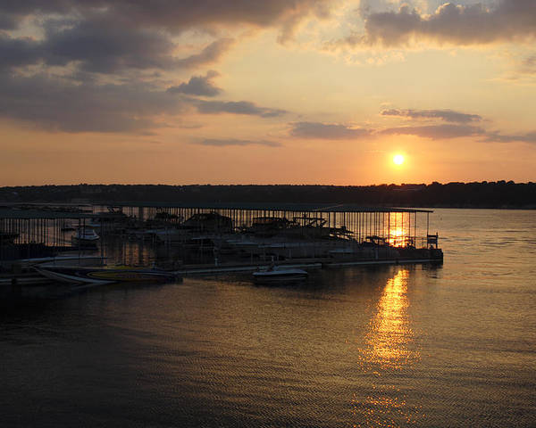 Sunset Poster featuring the photograph Lake Travis Sunset Over Carlos N Charlies by David Thompson