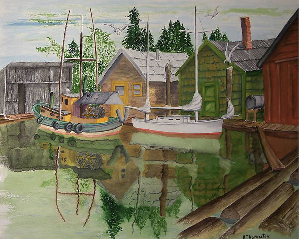 Landscape Poster featuring the painting lake Union Seattle by Robert Thomaston
