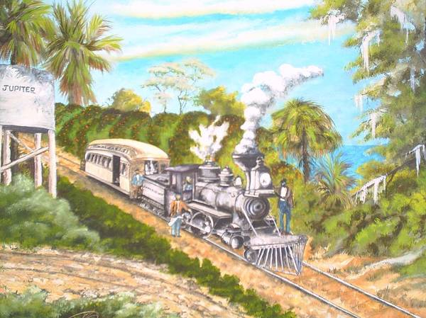 Florida History Poster featuring the painting Lake Worth And Jupiter by Dennis Vebert