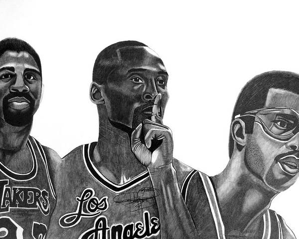 Kobe Bryant Poster featuring the drawing Laker Greats by Keeyonardo