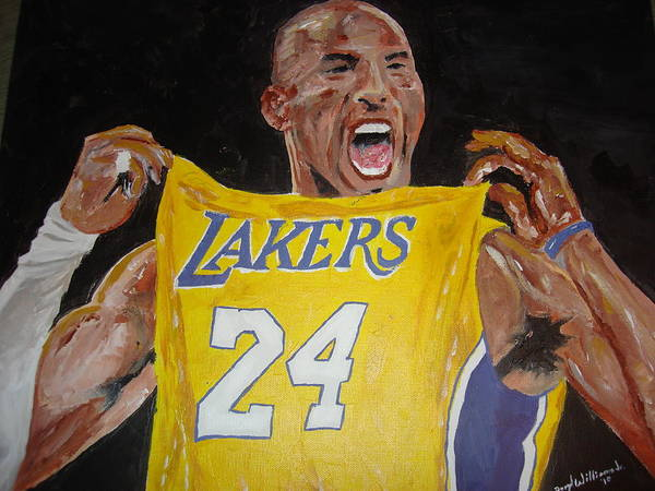 Kobe Bryant Poster featuring the painting Lakers 24 by Daryl Williams Jr
