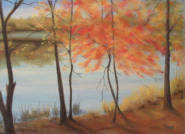Fall Foliage Poster featuring the painting Lakeside Dancers IIII by Pete Maier