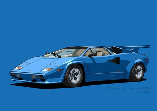 Lamborghini Countach 5000qv Blu Tahiti Us Spec Poster By Digitalcarart