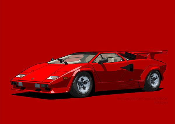 Lamborghini Countach 5000qv Rosso Siviglia Us Spec Poster By