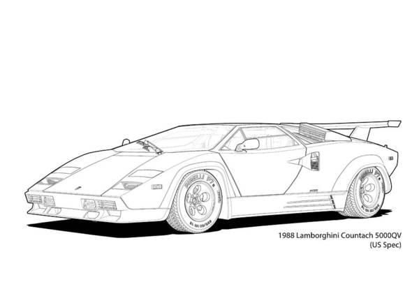Lamborghini Countach 5000qv Us Spec Line Illustration Poster By