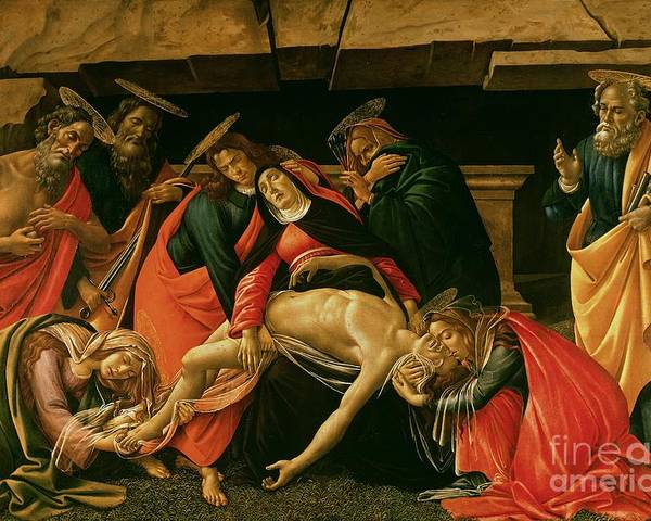 Lamentation Poster featuring the painting Lamentation Of Christ by Sandro Botticelli