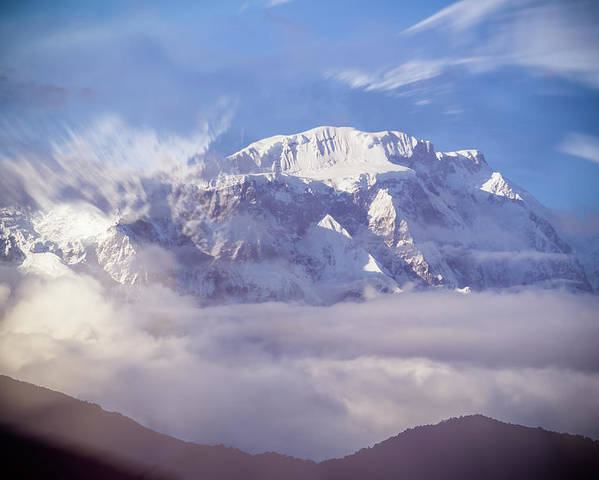 Asia Poster featuring the mixed media Lamjung Himal Peak Above The Clouds by Yuka Ogava