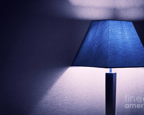 Lamp Poster featuring the photograph Lamp Blue by Charuhas Deshpande