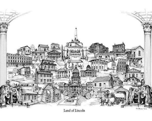 City Drawing Poster featuring the drawing Land Of Lincoln by Dennis Bivens