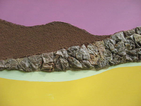 Yellow Poster featuring the mixed media Landforms by Gail Hinchen