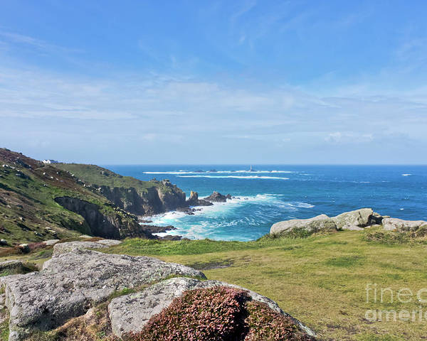 Lands End Poster featuring the photograph Land's End And Longships Lighthouse Cornwall by Terri Waters