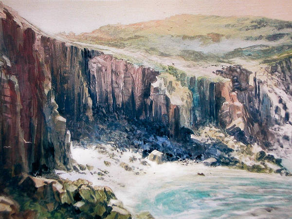 England;lands End;cornwall;painting;ocean;cliffs;seascape;water;landscape; Poster featuring the painting Lands End Cornwall by Don Getz