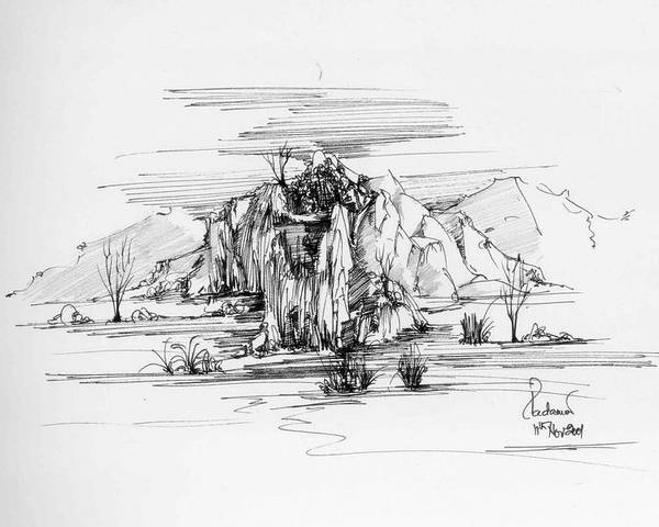 Landscape Poster featuring the drawing Landscape In Pen by Padamvir Singh