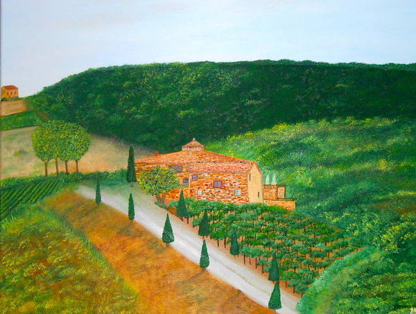 Italy Poster featuring the painting Landscape In Tuscany by Sandra Lorant